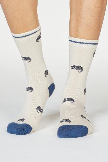 Thought dámské bambusové ponožky lula cat krémové