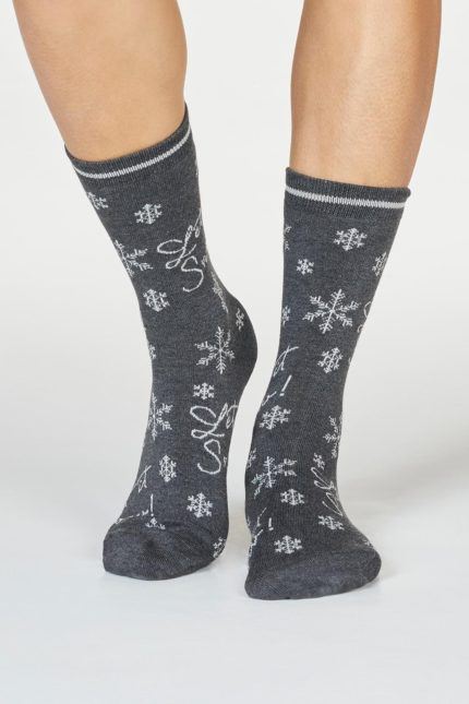 Thought dámské bambusové ponožky bobbie snow tm. šedé