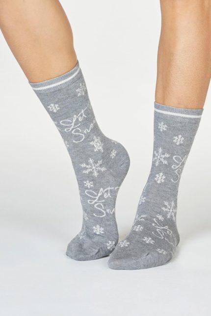 Thought dámské bambusové ponožky bobbie snow sv. šedé