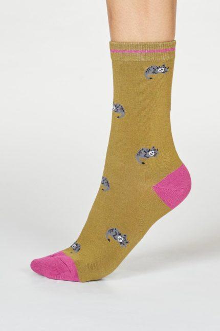 Thought dámské bambusové ponožky lula cat zelené