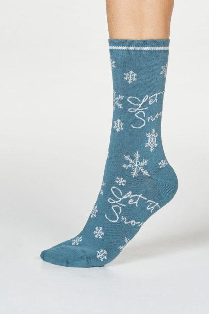 Thought dámské bambusové ponožky bobbie snow zelené