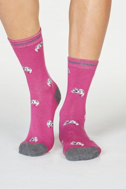 Thought dámské bambusové ponožky lula cat růžové