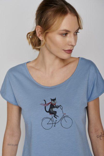 Greenbomb tričko bike cat modré