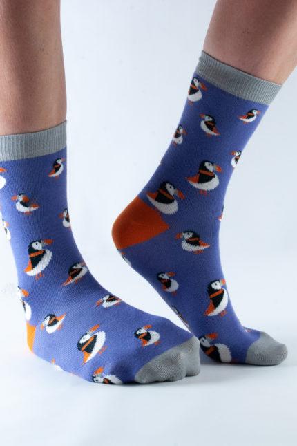 Doris and Dude dámské ponožky purple puffin
