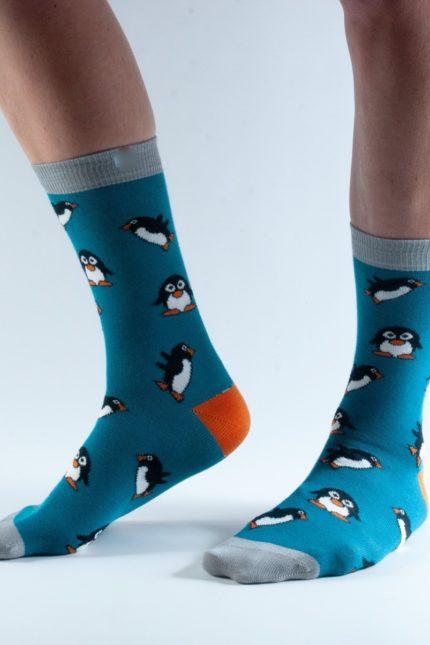Doris and Dude dámské ponožky teal penguin