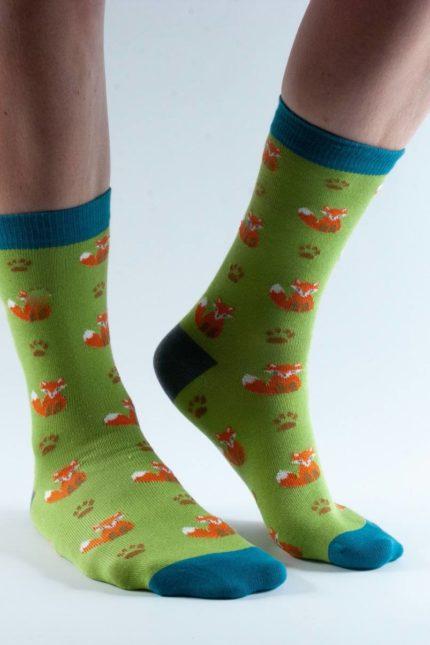Doris and Dude dámské ponožky lime fox