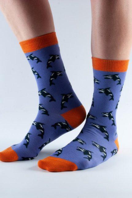 Doris and Dude dámské ponožky purple orca