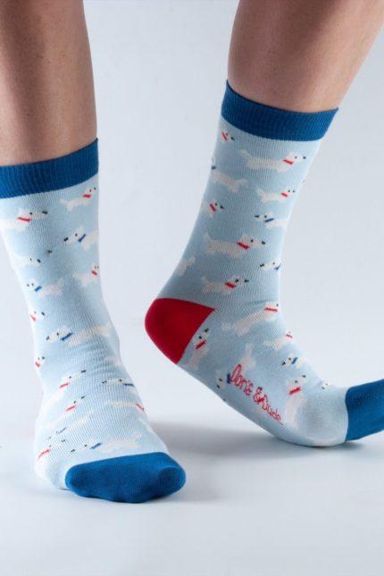 Doris and Dude dámské ponožky blue westie