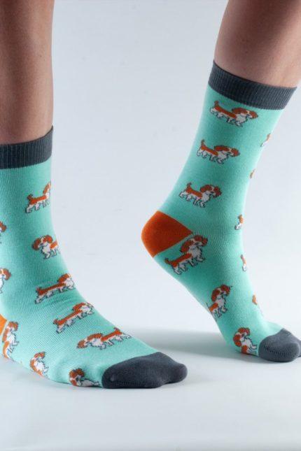 Doris and Dude dámské ponožky mint dogs
