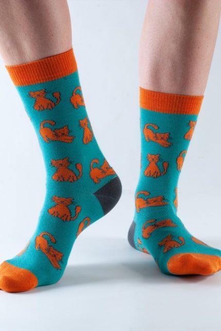 Doris and Dude dámské ponožky teal cat