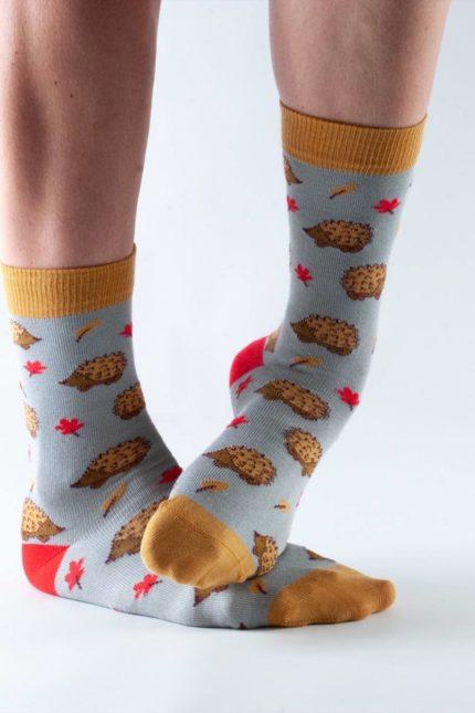 Doris and Dude dámské ponožky grey hedgehog