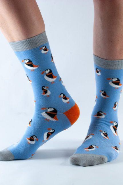 Doris and Dude dámské ponožky blue puffin