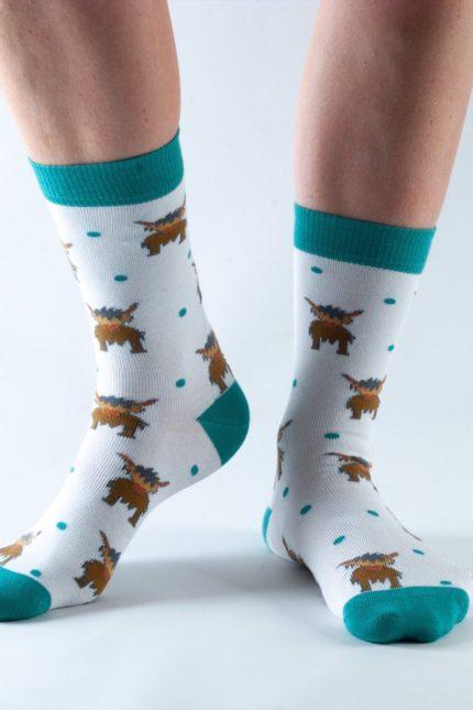 Doris and Dude dámské ponožky grey highland cow
