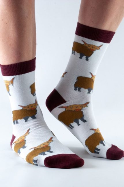 Doris and Dude dámské ponožky highland cow