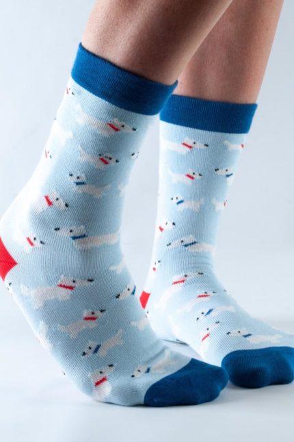 Doris and Dude dámské ponožky easy fit blue westie