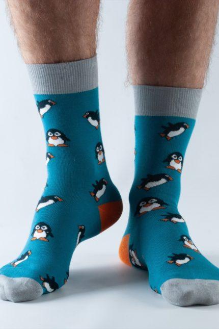 Doris and Dude pánské ponožky teal penguin