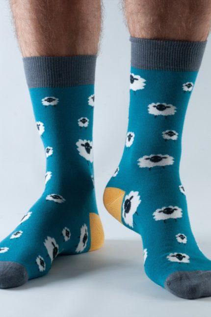 Doris and Dude pánské ponožky teal sheep