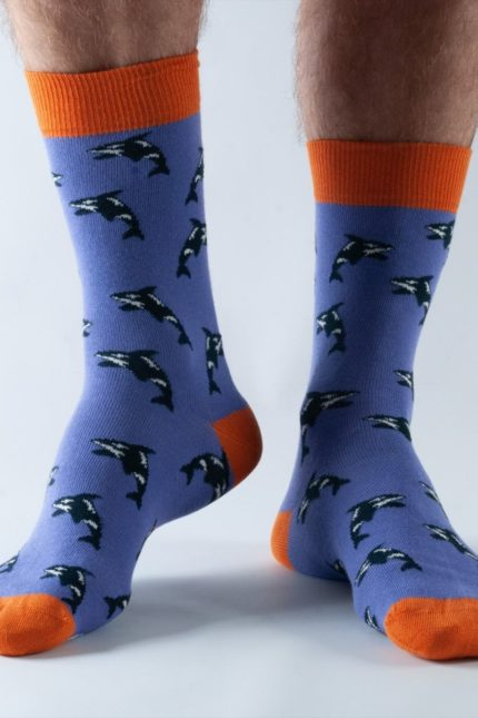 Doris and Dude pánské ponožky purple orca