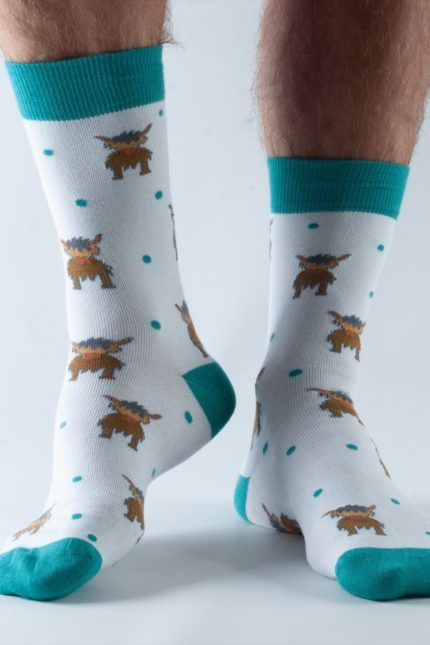 Doris and Dude pánské ponožky dark grey highland cow