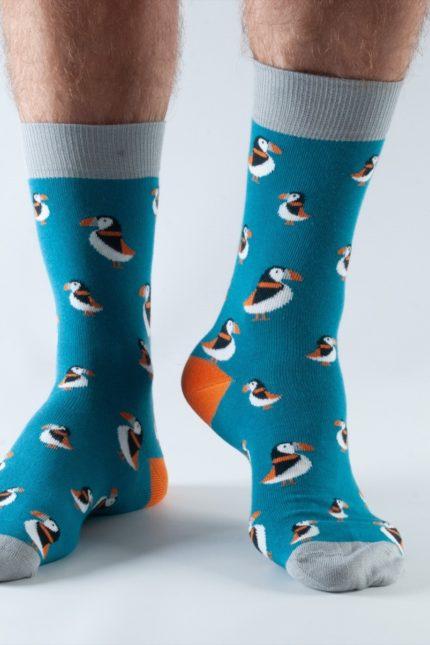 Doris and Dude pánské ponožky teal puffin