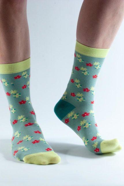 Doris and Dude dámské ponožky green flowers