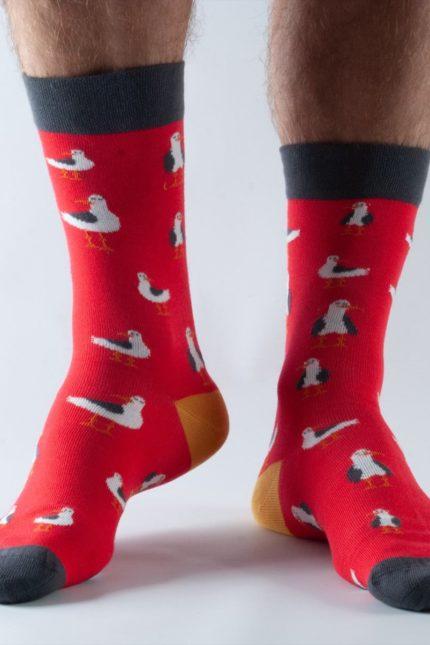 Doris and Dude pánské ponožky easy fit red seagull