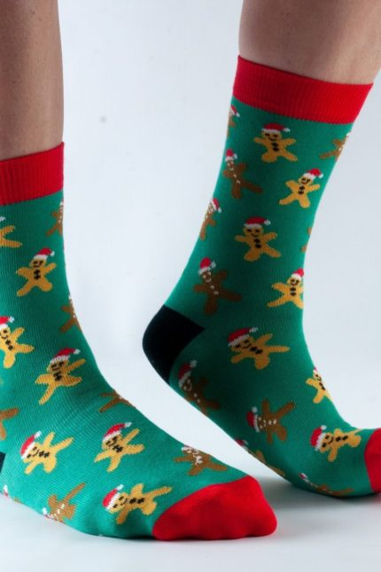 Doris and Dude dámské ponožky green gingerbread man