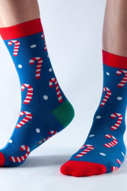 Doris and Dude dámské ponožky blue candy cane