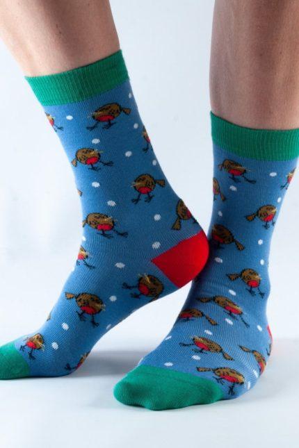 Doris and Dude dámské ponožky blue robin