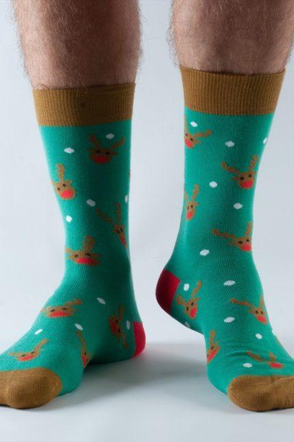 Doris and Dude pánské ponožky green reindeer