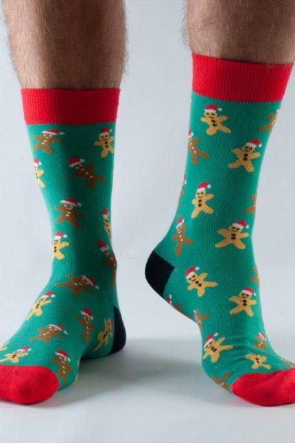 Doris and Dude pánské ponožky green gingerbread man