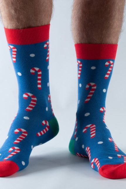 Doris and Dude pánské ponožky blue candy cane