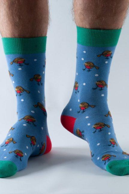 Doris and Dude pánské ponožky blue robin