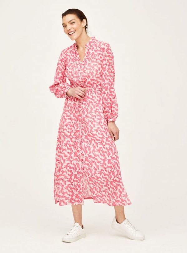 WWD6080-SHELL-PINK--Thackery-Organic-Cotton-Floral-Midi-Dress-in-Pink-1