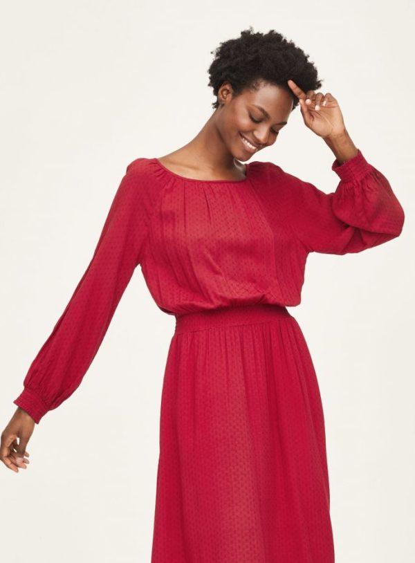 WWD6087-CURRANT-RED--Effa-EcoVero-Midi-Dress-in-Red-1