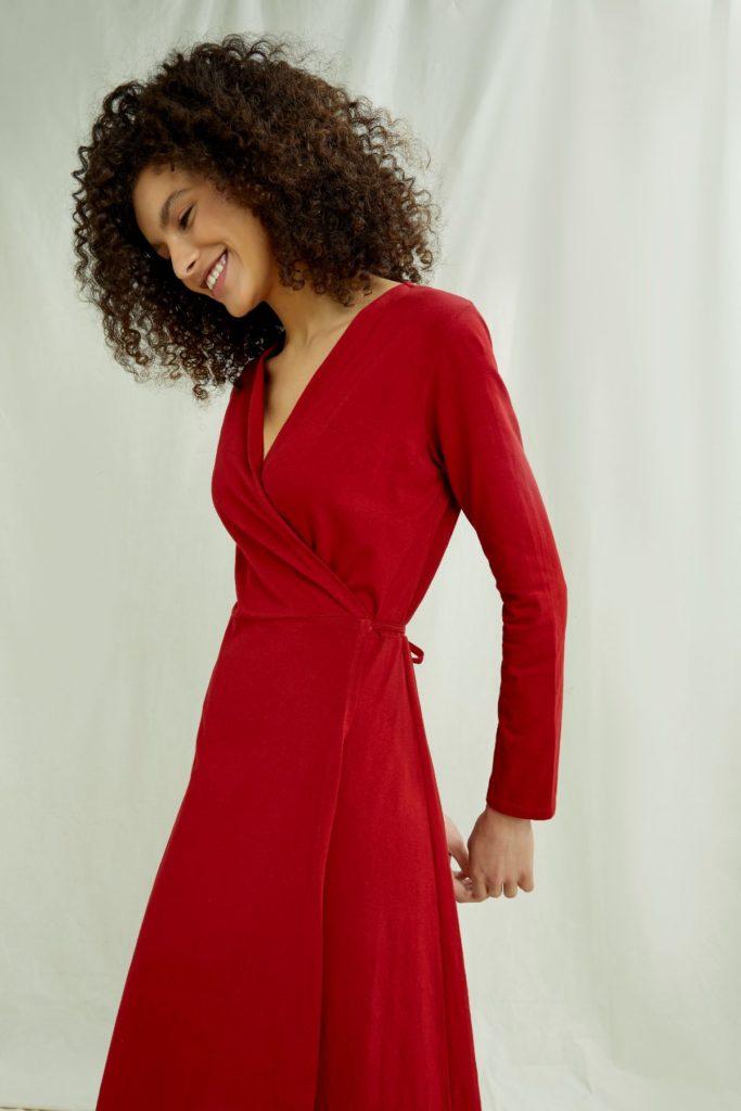 People Tree Šaty mathilde červené z bio bavlny