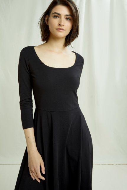 People Tree Šaty valencia černé z bio bavlny