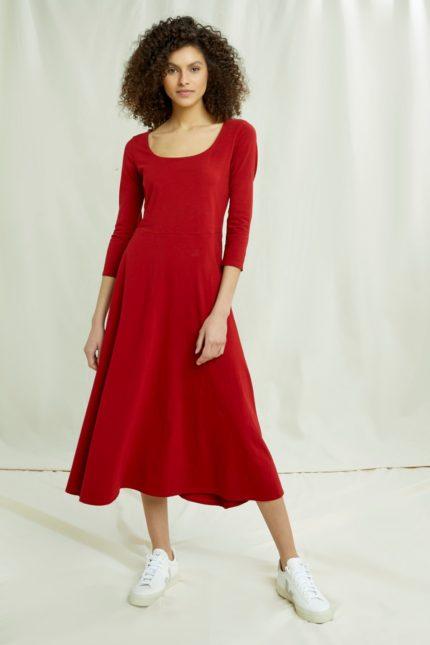 People Tree Šaty valencia červené z bio bavlny